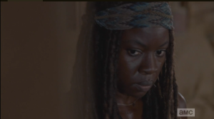 michonne waits for rick's response