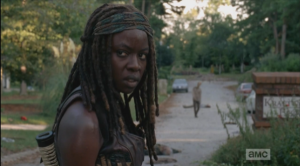 michonne's face at rick's suggestion
