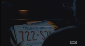 ...when Rick finds Aaron's license plate collection in the glove compartment. At Rick's questioning look towards Glenn, Aaron leans forward from the back seat.