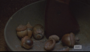 Yuck. I have read that while acorns are certainly edible, and can be crushed to make a meal, or a flour, that they are extremely bitter, and must be soaked in water for a long, long time to leach the bitterness out.