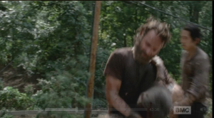 rick says flank her, machetes walker