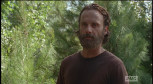 Stepping up like a good future boyfriend, and a hot future boyfriend, Rick, looking at Michonne's face, agrees that they should go to Washington.