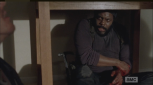 Tyreese regards The Ghost of Shitty Martin with no small amount of horror at what, and who, he is seeing, and hearing.