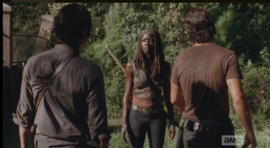 Just as Glenn is hitting rock bottom, telling Rick that, basically, nothing matters, Michonne says one word: