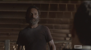 As Rick and Aaron regard each other, Aaron says, earnestly, looking into Rick's face,