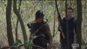 Meanwhile, as they make their way through the woods, Aaron asks Daryl if he ever rode...Aaron's talking about horses, but Daryl replies that he used to ride bikes.  Aaron jokes that he's assuming that Daryl isn't talking about 10-speeds...