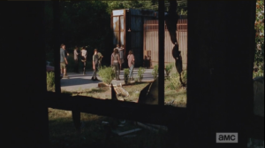 Carl stays back a moment, looking at the window, before turning and following the others.  The perspective shifts, and we see Carl and the gang walking towards the opening gate from inside the house, looking out through the window.