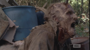 Buh bye, Grabby Walker.  Later, on TD, Chris Hardwick and guests speculated on whether whoever stole Rick's gun also planted the walker there as a grabby, bitey booby trap...but how would you make the walker stay put?