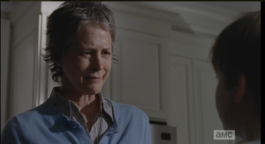 Carol narrows her eyes at Sam, tells him these aren't problems, and besides, she doesn't care...she tries once again to march him to the door.