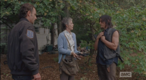 As Carol tries to hand out her ill-gotten handguns, Daryl takes a pass...he tells them if the shit goes down, they won't need them, and he's good, now. He's going to try it here. Carol's all like,