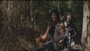 Meanwhile, Daryl and Aaron find Buttons, penned in with a group of walkers.  They must act fast.