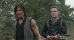 Daryl prepares to go in, and after a moment, Aaron follows him. It is the code with Daryl and his people that they will go in, even to ease a poor animal's suffering, as opposed to Alexandrian code, as we will see, which is pretty much,