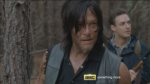 Meanwhile, as Daryl and Aaron make their way through the woods, Daryl hears the soft nicker of a horse.