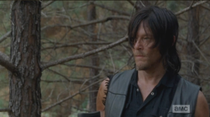 Daryl watches the horse a moment, then reaches for Aaron's rope.