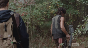 Daryl vibes Aaron a moment more, then turns, ordering Aaron to