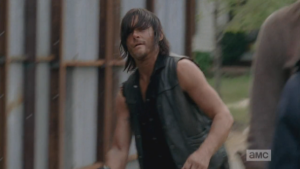 Daryl, pissed, grabs up his crossbow and stalks off.  Awww. sorry, Daryl, but Michonne did a lot better with the interview!