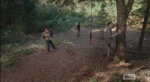 Nicholas proves himself to be even more of a dumbass by whistling loudly through his finger and thumb, trying to attract back the walker. Starting to see how those four people got killed on that run...