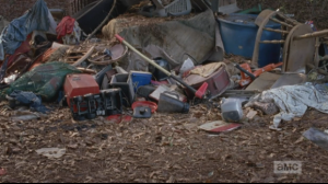In his usual matter-of-fact style, Daryl turns to the trash heap, with the empty plastic blender, and remarks that