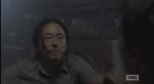 As Noah pulls Glenn away, just in time, Glenn looks at Aiden, anguished. Poor Glenn!