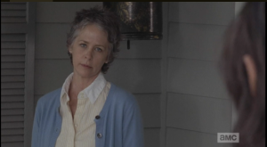 Carol narrows her eyes at Daryl, asks him if he's taken a shower yet.