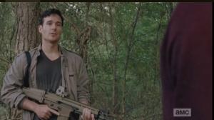 Aidan turns and addresses Glenn, Tara, and Noah.