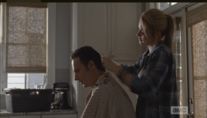 As Jessie cuts Rick's hair, she tells him that she has two sons, the eldest, Rowan, being about his son's age.  She offers for the boys to hang soon, if that's ok with Rick, and...?