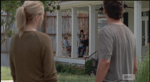 Jessie has an idea where they might be, and she brings Rick to an elder couple's home, where Carl and Judith are, sure enough, getting exclaimed over by the couple (who had five children, and twelve grandchildren, before...ugh, awful to think about that scope of loss).