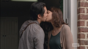 Glenn and Maggie kiss goodbye.
