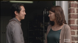 Now, it's time for Glenn and Maggie to say their goodbyes.  Maggie assures Glenn that he's got this...he always does. Although her words inspire confidence, her face shows her worry. Every  run has its risk.