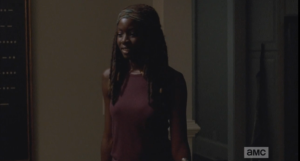 I love seeing this side of Michonne, all laughing and girly and cute.
