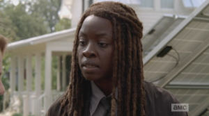 Michonne adds that it's the only way they'll be able to see if someone's coming at them.