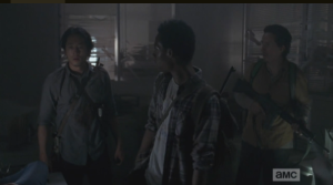 After Eugene's proclamation, Noah and Nicholas turn to Glenn, who must channel Rick-In-Charge in this moment. What would Rick do now?