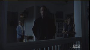 Carol says that if they get comfortable here, they will get weak. Rick says that Carl said they very same thing, but they won't get weak...that's not in them, any more. Rick looks out into the night, says that if they, the Alexandrians, can't make it...