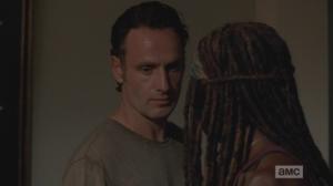 Rick glances around, says,