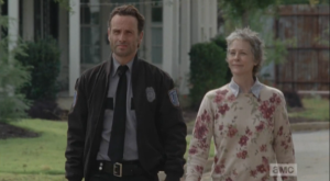 Rick volunteers himself for the job, but Carol points out that his absence would be noticed. Rick adds that Daryl is out, as they are watching every move he makes, these days.  That leaves Carol, who smiles and says that the good thing about this place is that
