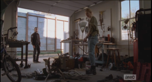 Rick stops by and sees Jessie in her garage, picking up pieces of owl sculpture...it seems someone finished the owl demolition job that Rick accidentally started when he crashed into the sculpture during his wack attack a couple of episodes back...