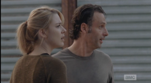 Jessie runs up, concerned, asks Rick if he's ok...he asks her if she's seen Carl and Judith, as he can't find them.