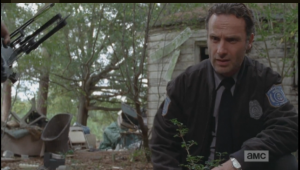 Rick looks troubled, but says nothing to Carol and Daryl about this.  I wonder why, but I am thinking that Rick is not one to say something, in a moment, if he feels it is too soon, or not time.  Seems like he remembers those other