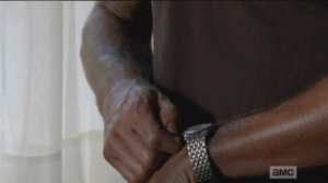 We, and Deanna Monroe, can tell how long he's been wanting to find out the correct time, to set his watch to it.