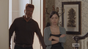 Abraham and Rosita come next...Rosita's body language immediately pronounces the party as