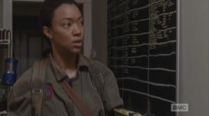 We see Sasha walking into the Alexandria Storeroom and Gun Lending Library, followed by Olivia, who's like,