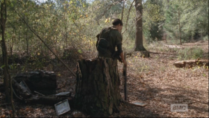 After all the pictures are gone, Sasha walks over to a large tree stump, sets her rifle beside her, and waits...