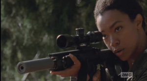 Sasha takes aim...