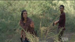 Tara whirls and shushes them, and Glenn rushes up to Nicholas,
