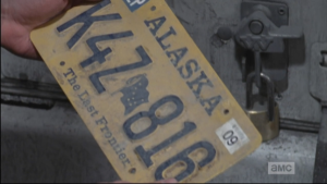 And just when Aaron thought it couldn't get any better, he finds that the license plate he just unscrewed is one from Alaska...triple bonus score!