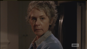 Carol looks up and sees the little boy.  It seems that lost children keep finding Carol in these times, and she is challenged once again to open her heart to a child who needs her.