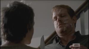 Carol brings the knife down, invites McBeaty,