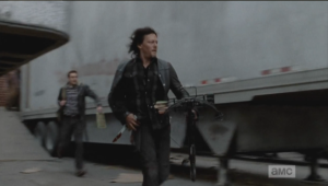 Daryl and Aaron make a run for it, only to find their way blocked by another large group of walkers...it seems the trailers open at both ends once the booby trap mechanism is set off.
