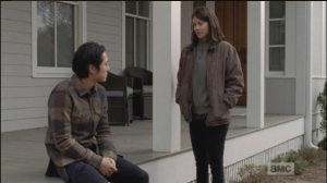 Maggie assures Glenn that she will go and talk to people today, before the meeting, plead Rick's case.