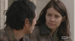 Maggie looks at Glenn's troubled face.